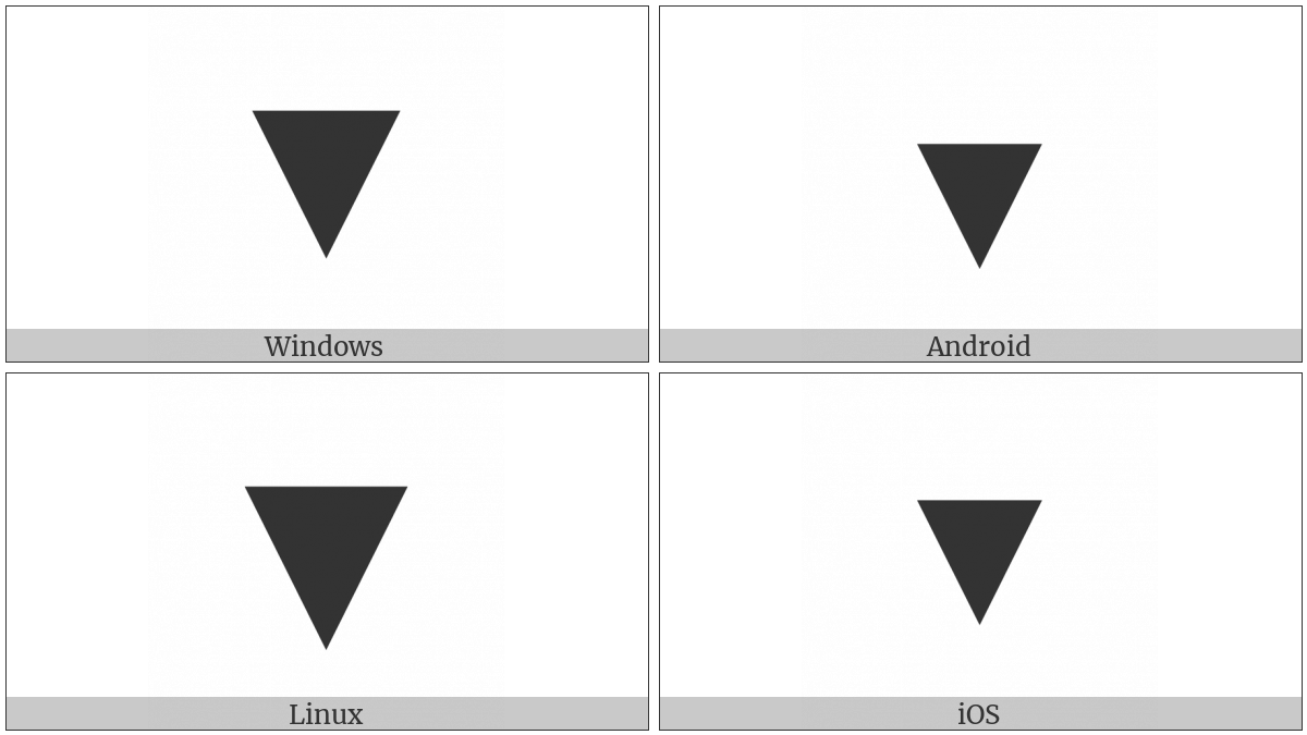 Black Down-Pointing Triangle on various operating systems