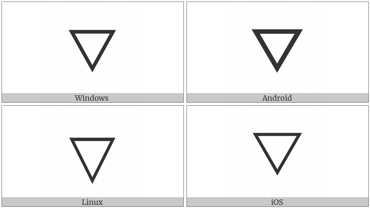 White Down-Pointing Triangle on various operating systems