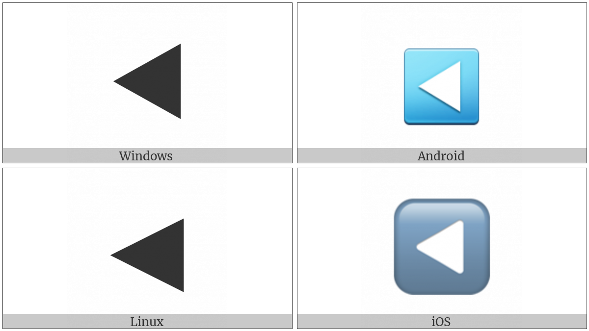 Black Left-Pointing Triangle on various operating systems
