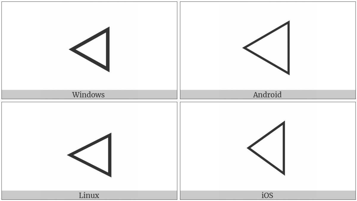 White Left-Pointing Triangle on various operating systems
