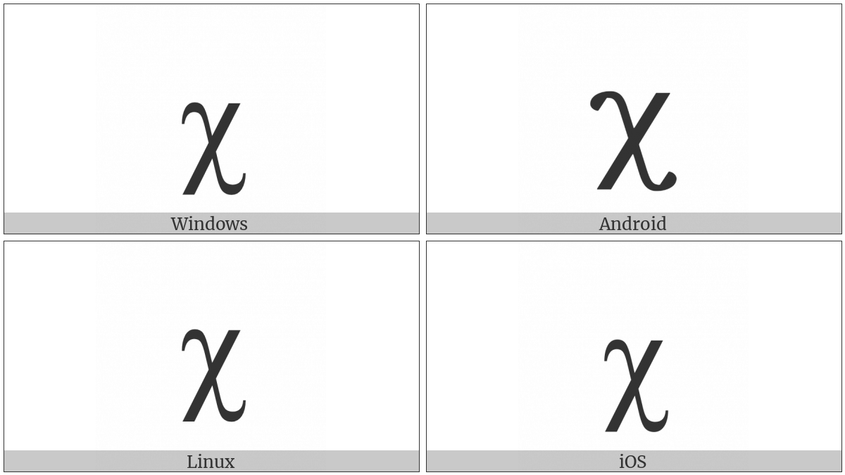 Greek Small Letter Chi on various operating systems