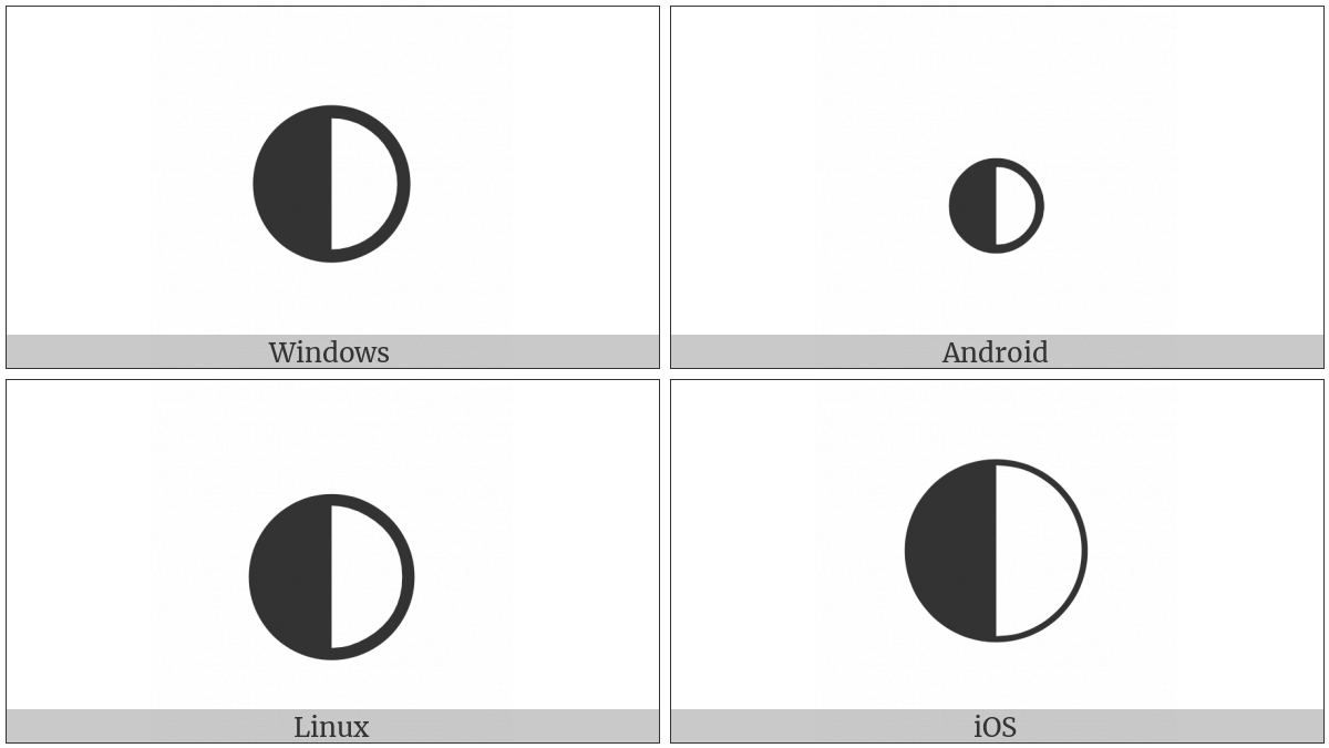 Circle With Left Half Black on various operating systems