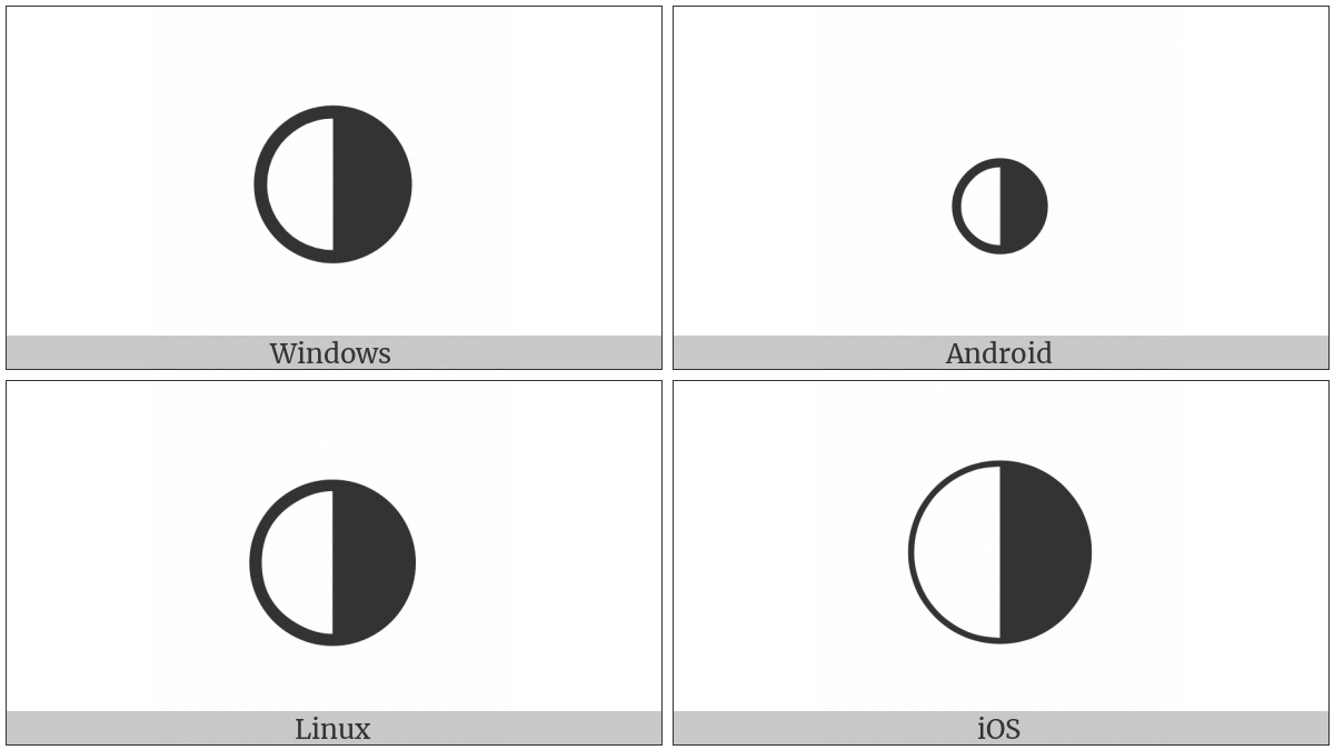 Circle With Right Half Black Utf 8 Icons