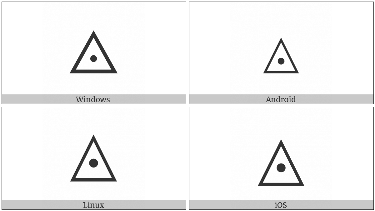 White Up-Pointing Triangle With Dot on various operating systems