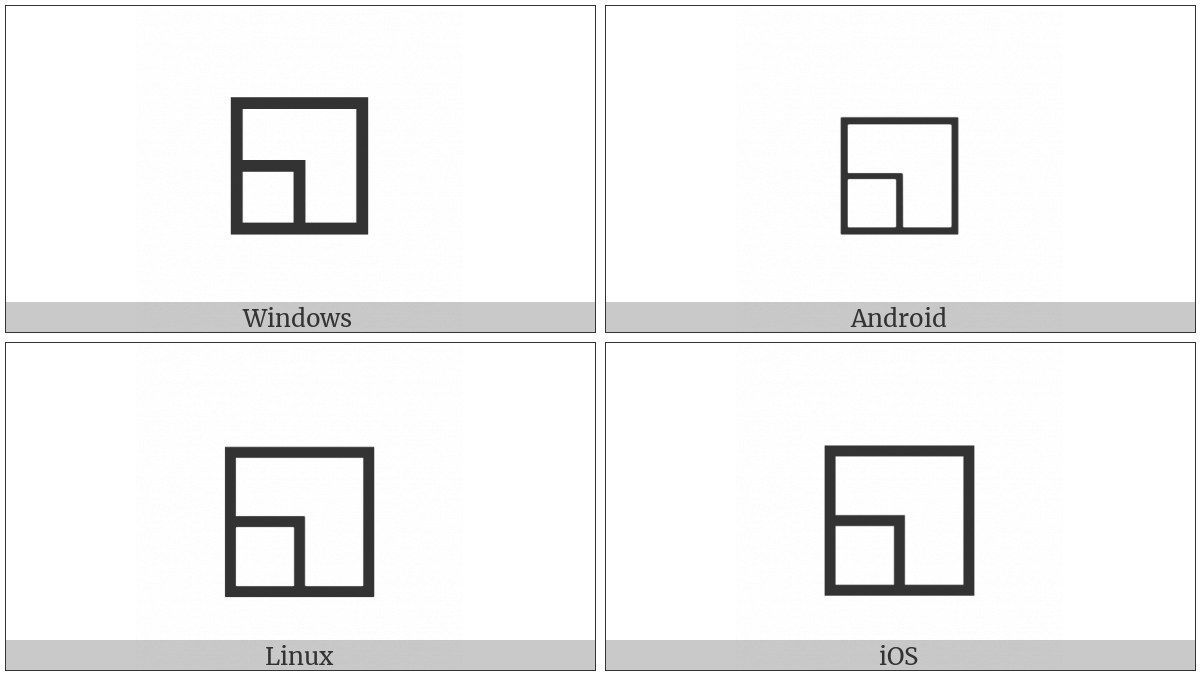White Square With Lower Left Quadrant on various operating systems