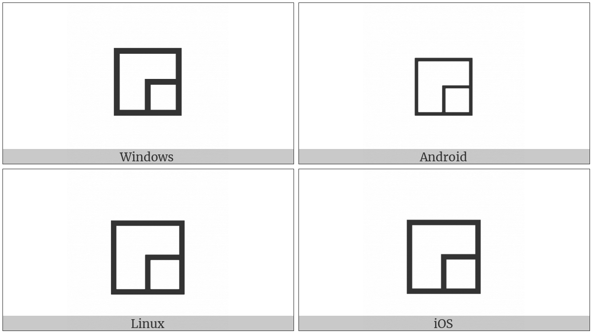 White Square With Lower Right Quadrant on various operating systems