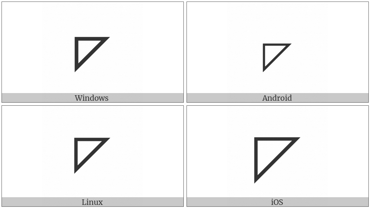 Upper Left Triangle on various operating systems