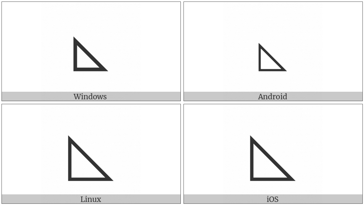 Lower Left Triangle on various operating systems