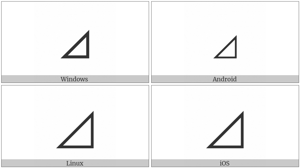 Lower Right Triangle on various operating systems
