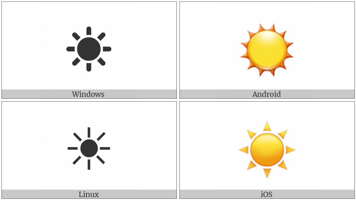 Black Sun With Rays on various operating systems