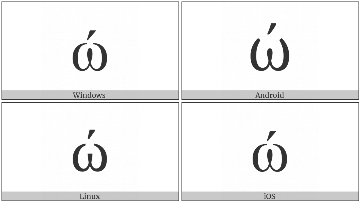 Greek Small Letter Omega With Tonos on various operating systems