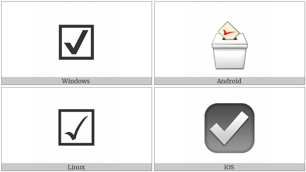 Ballot box with check utf 8 icons ballot box with check on various operating systems biocorpaavc