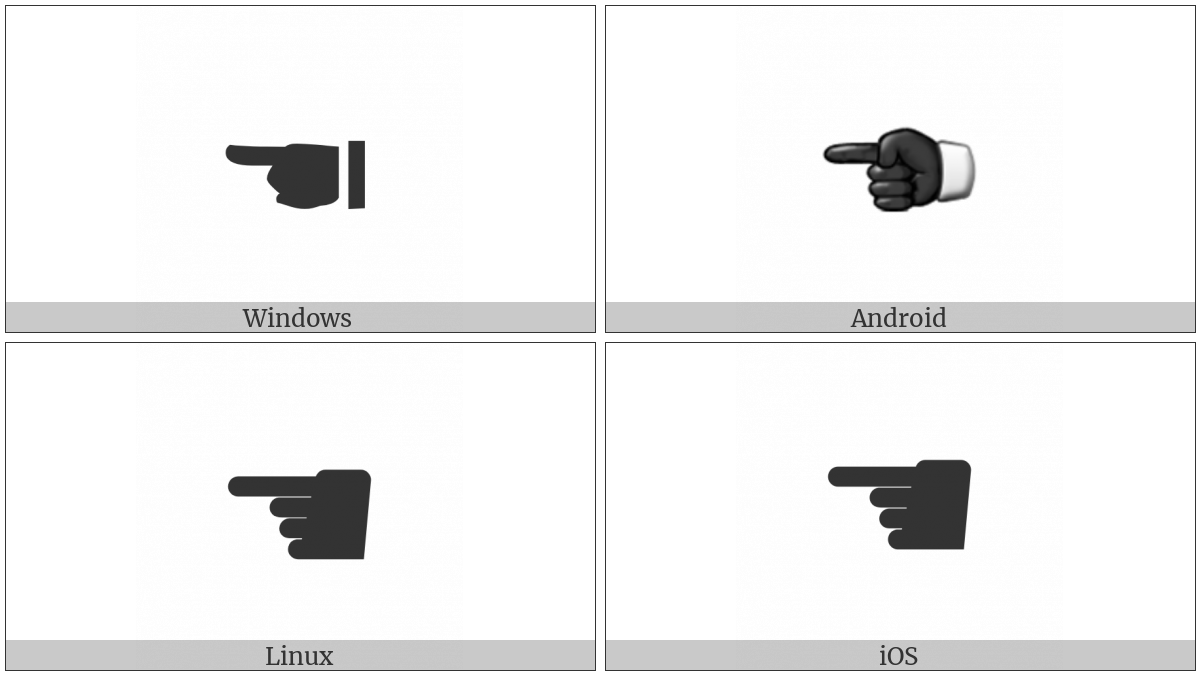 Black Left Pointing Index on various operating systems