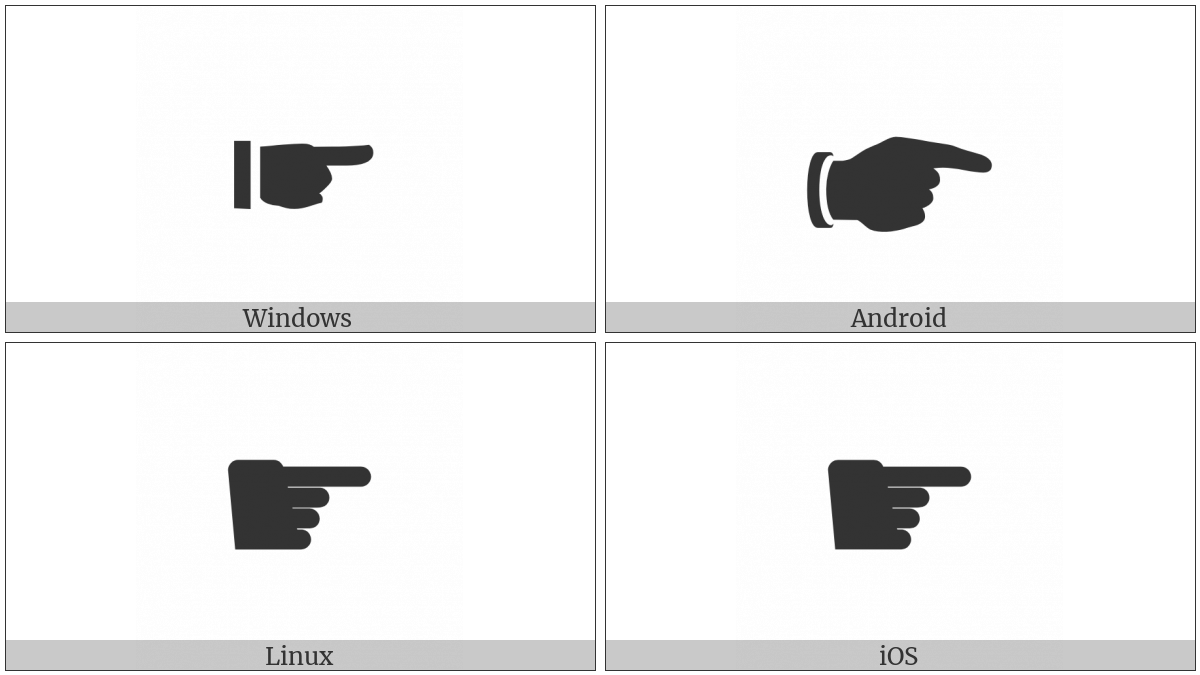 Black Right Pointing Index on various operating systems