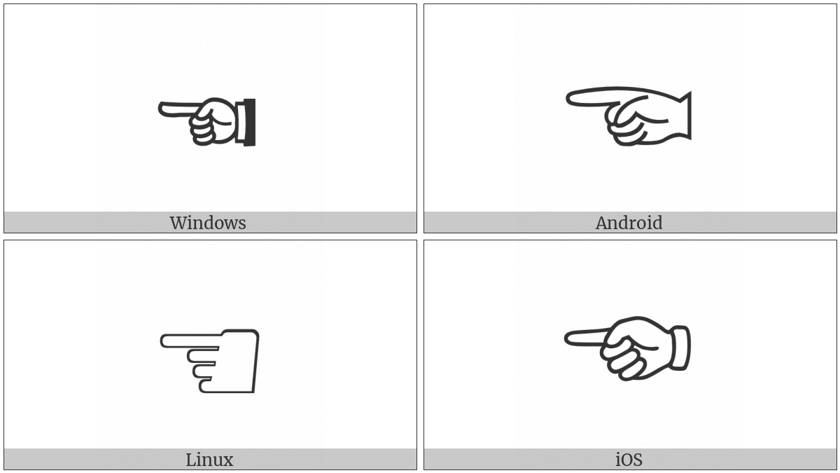 White Left Pointing Index on various operating systems