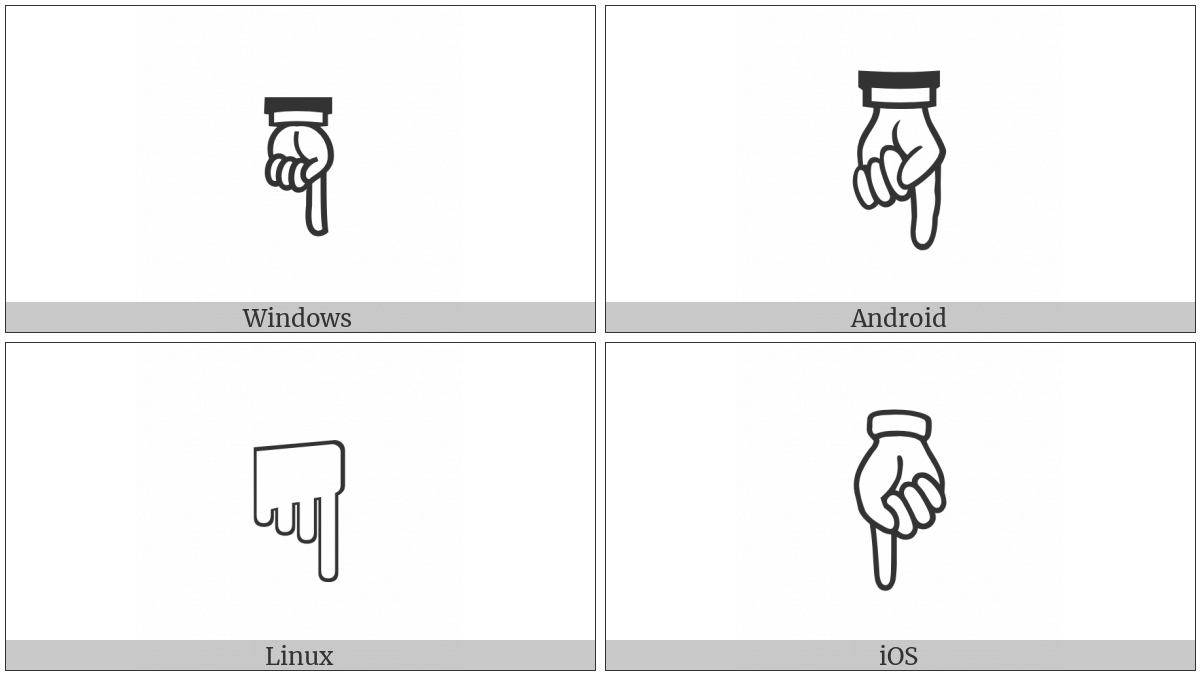 White Down Pointing Index on various operating systems