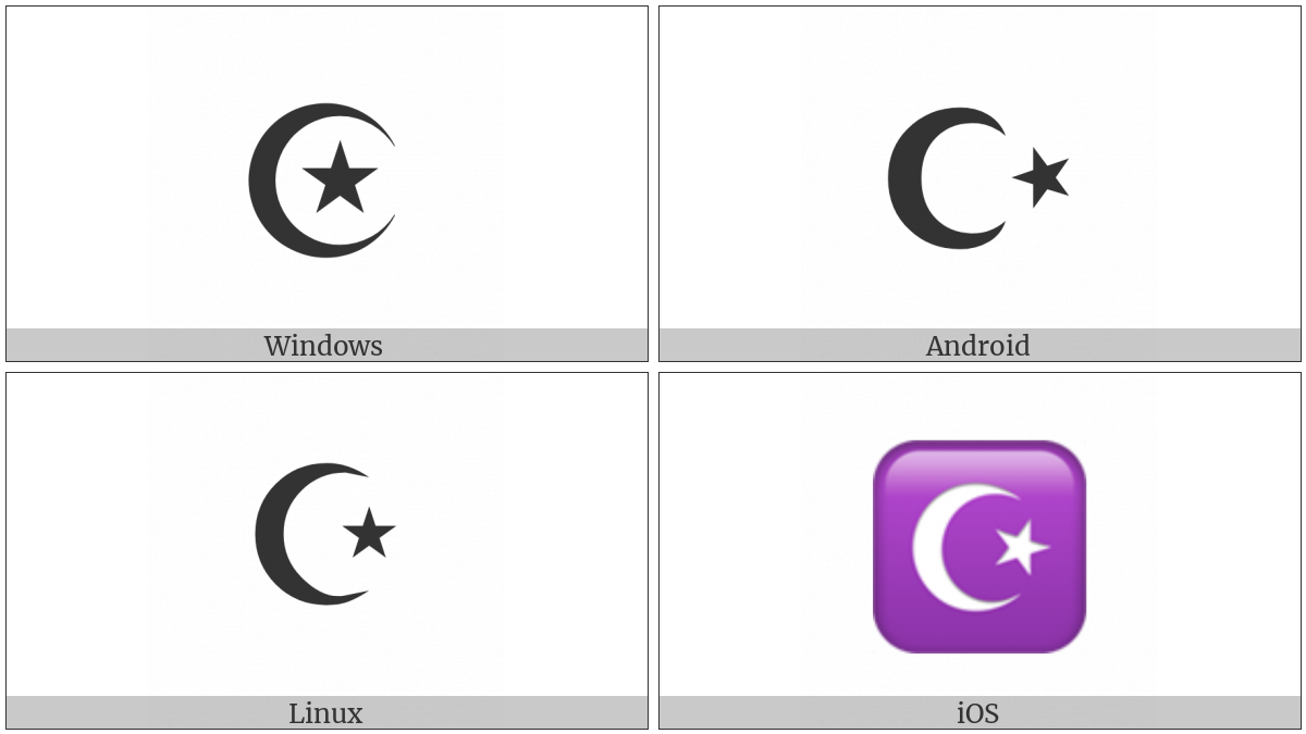 Star And Crescent on various operating systems