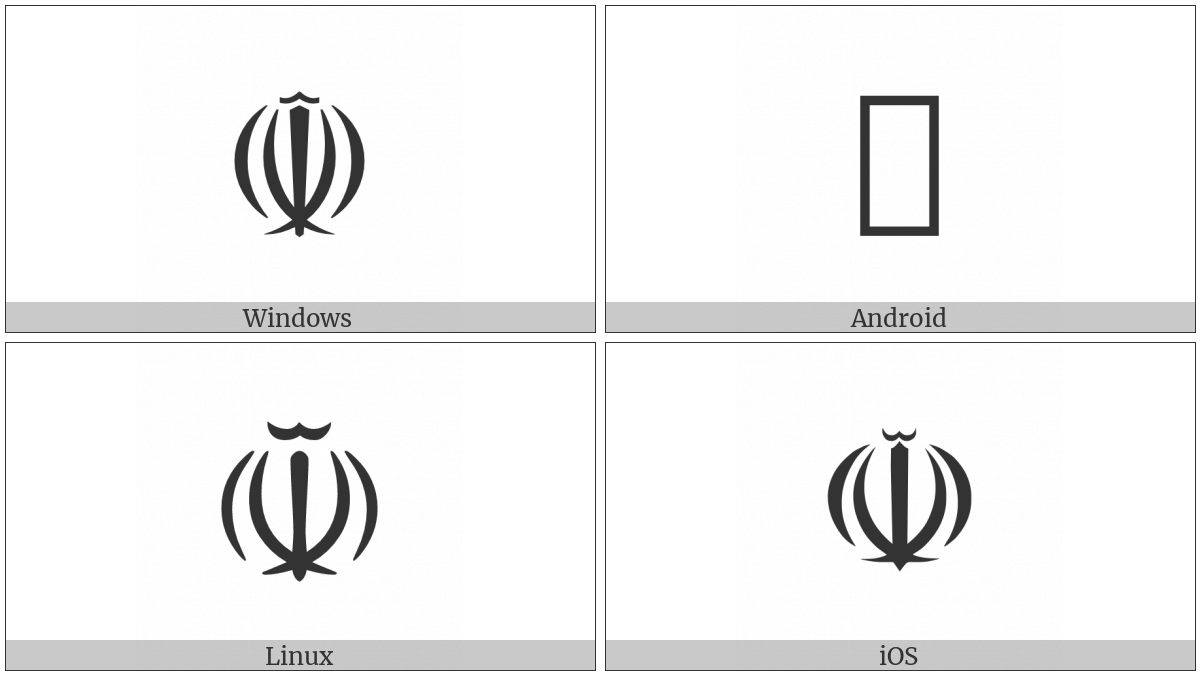 Farsi Symbol on various operating systems