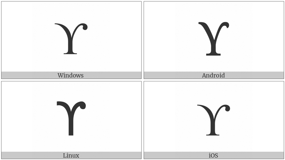 Greek Upsilon With Hook Symbol on various operating systems