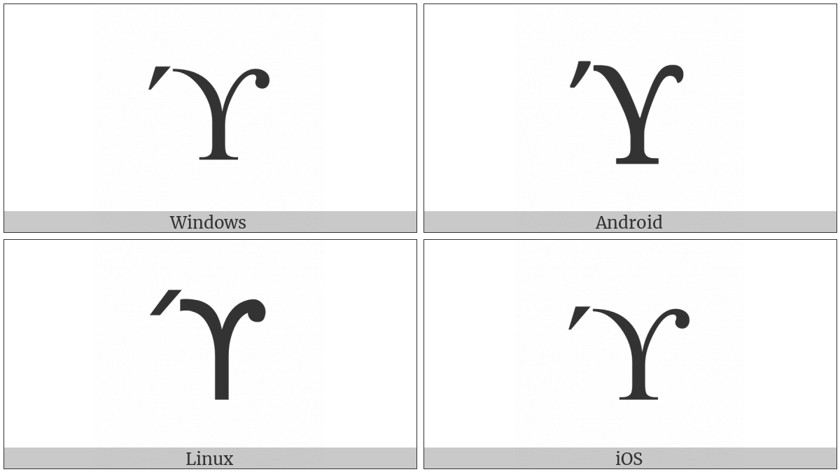 Greek Upsilon With Acute And Hook Symbol on various operating systems