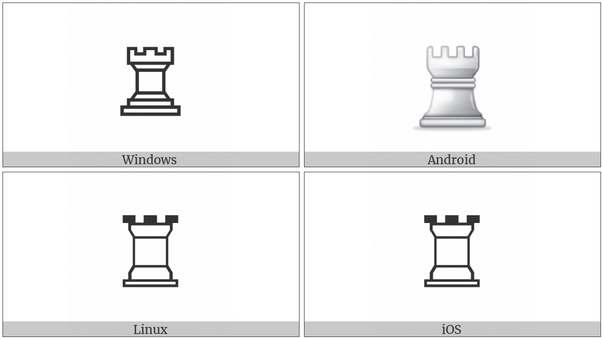 White Chess Rook on various operating systems
