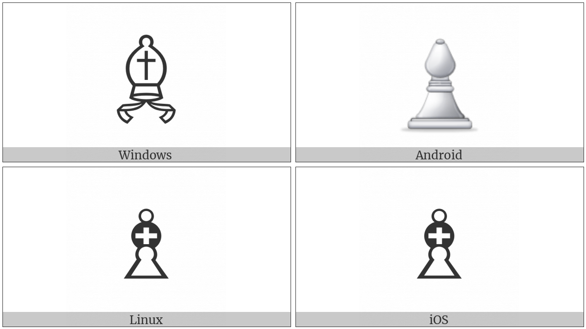 White Chess Bishop on various operating systems