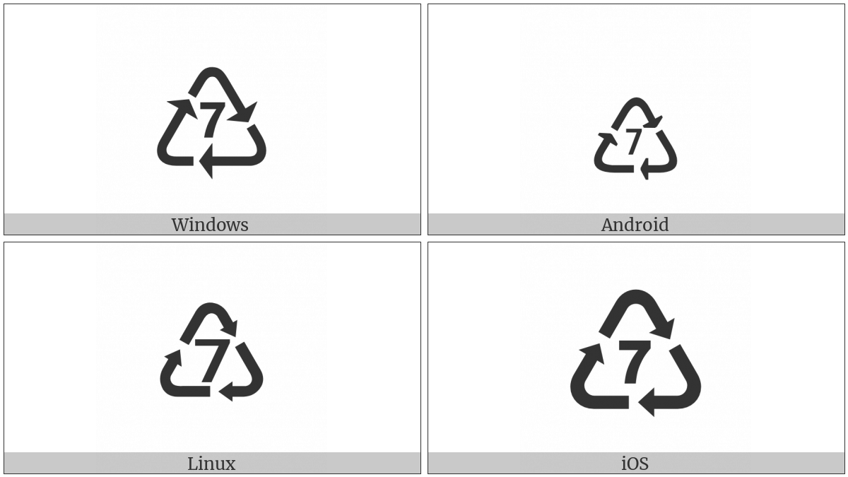 Recycling Symbol For Type 7 Plastics Utf 8 Icons