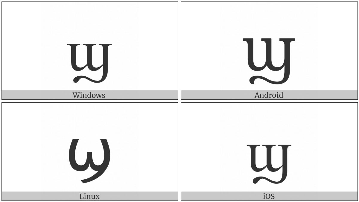 Coptic Small Letter Shei on various operating systems