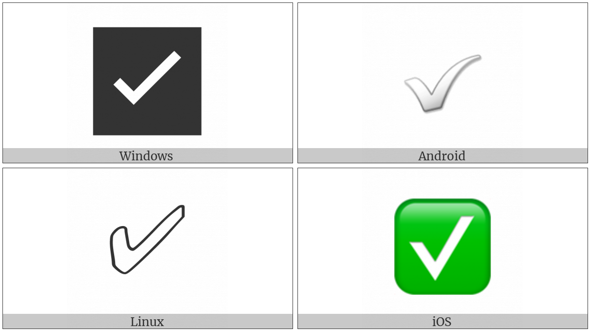White Heavy Check Mark on various operating systems