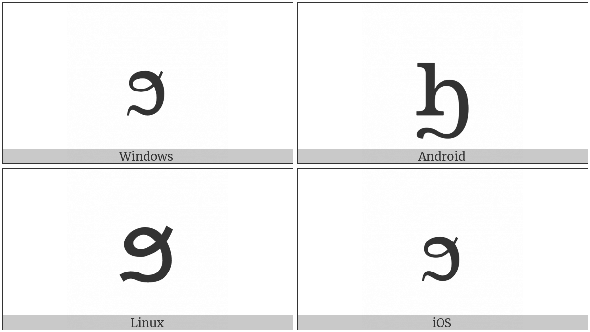 Coptic Small Letter Khei on various operating systems