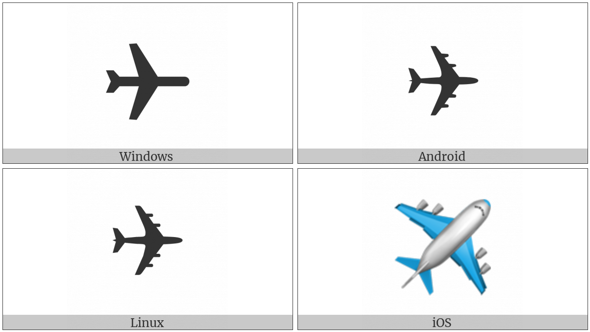Airplane on various operating systems
