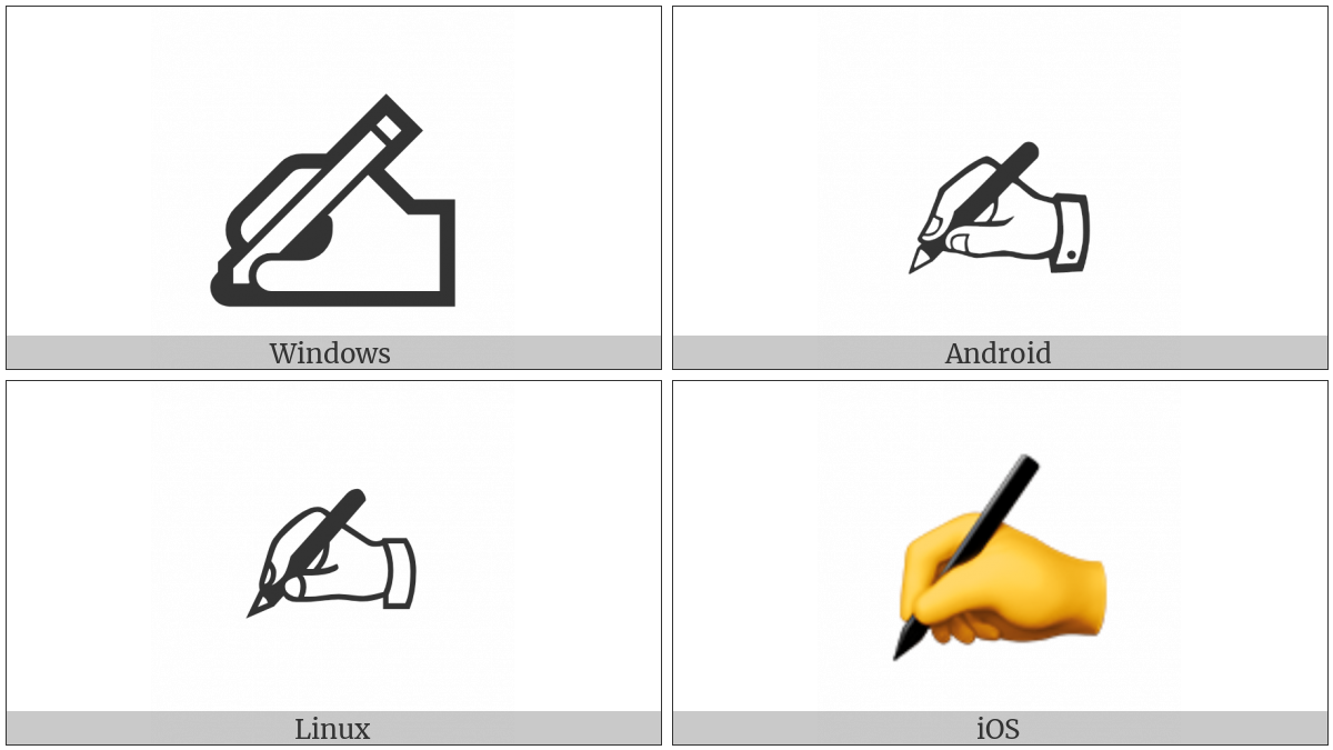 Writing Hand on various operating systems