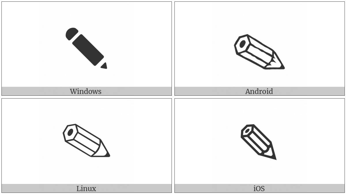 Lower Right Pencil on various operating systems